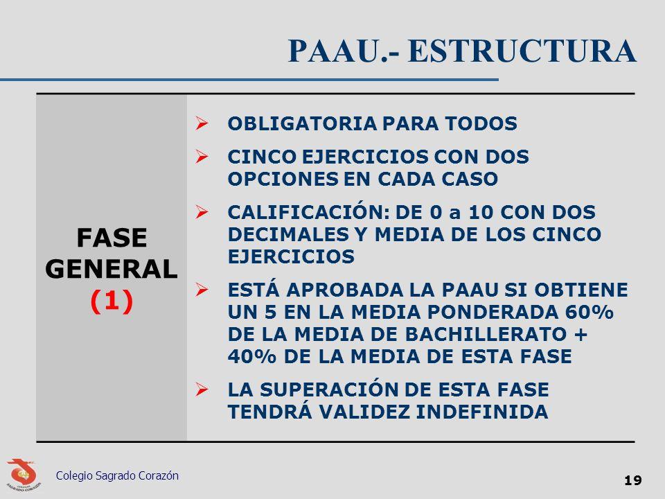 PAAU.- ESTRUCTURA FASE GENERAL (1) OBLIGATORIA PARA TODOS CINCO EJERCICIOS CON DOS OPCIONES EN CADA CASO CALIFICACIÓN: DE 0 a 10 CON DOS DECIMALES Y M