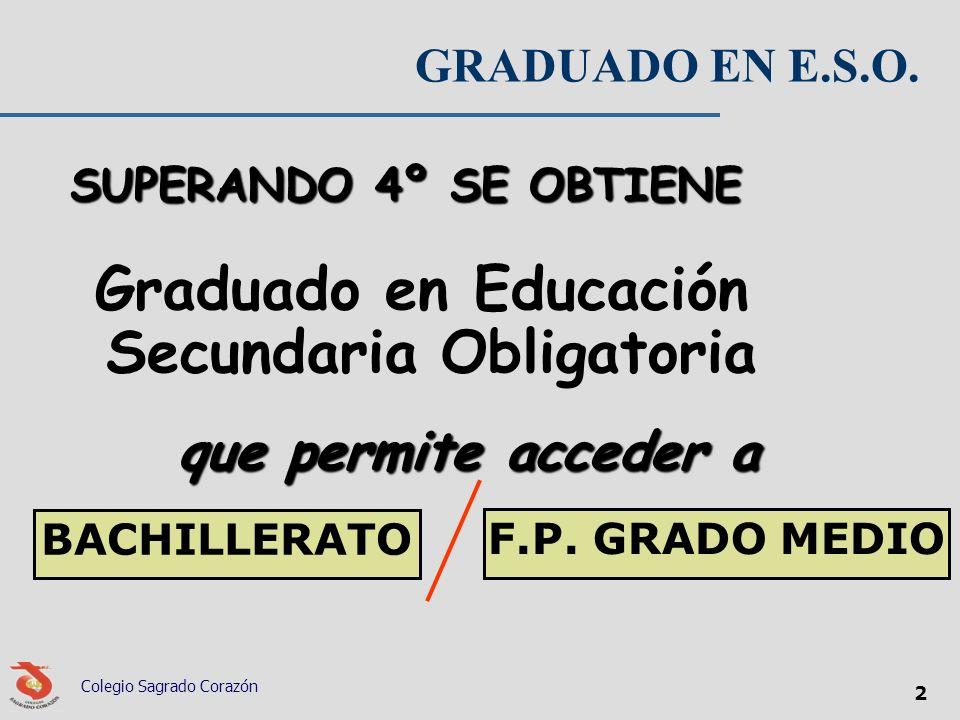 Colegio Sagrado Corazón 2 GRADUADO EN E.S.O. SUPERANDO 4º SE OBTIENE Graduado en Educación Secundaria Obligatoria que permite acceder a BACHILLERATO F