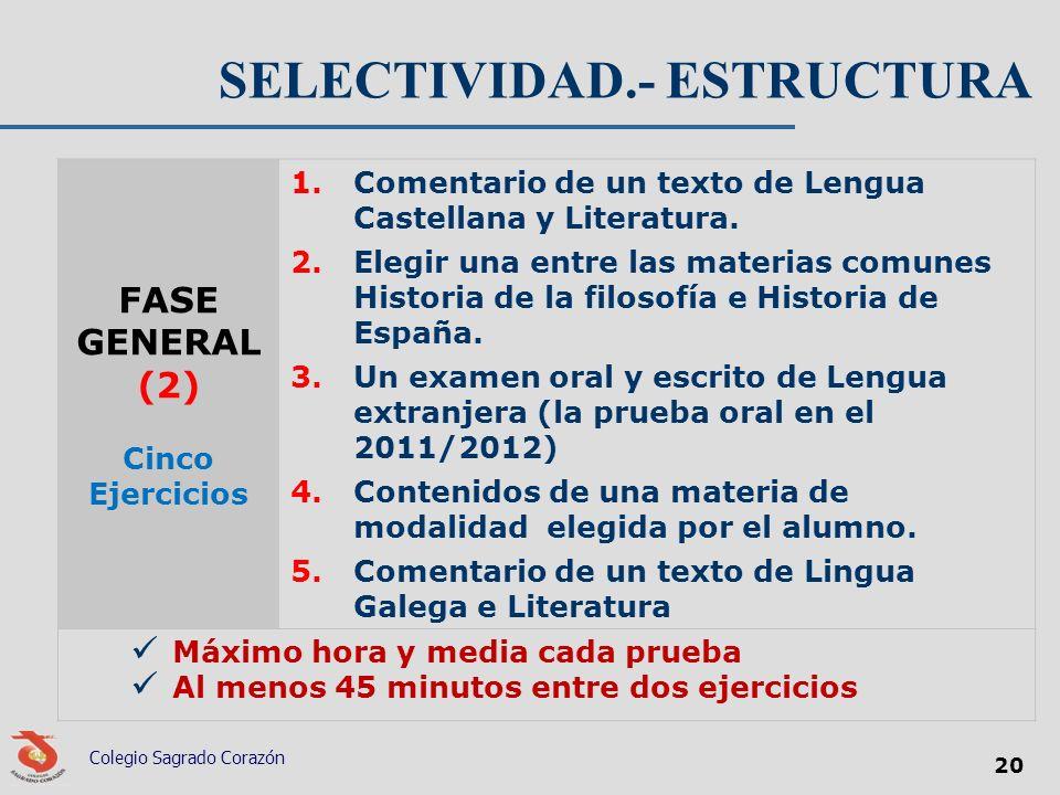 SELECTIVIDAD.- ESTRUCTURA FASE GENERAL (2) Cinco Ejercicios 1.Comentario de un texto de Lengua Castellana y Literatura. 2.Elegir una entre las materia