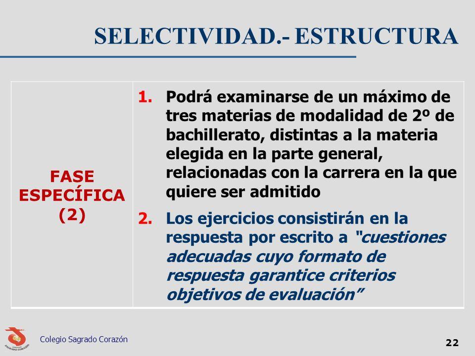 SELECTIVIDAD.- ESTRUCTURA FASE ESPECÍFICA (2) 1.Podrá examinarse de un máximo de tres materias de modalidad de 2º de bachillerato, distintas a la mate