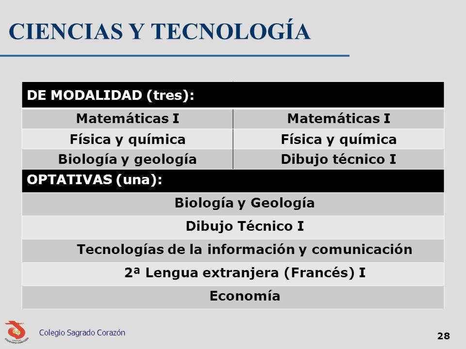 CIENCIAS Y TECNOLOGÍA DE MODALIDAD (tres): Matemáticas I Física y química Biología y geologíaDibujo técnico I OPTATIVAS (una): Biología y Geología Dib