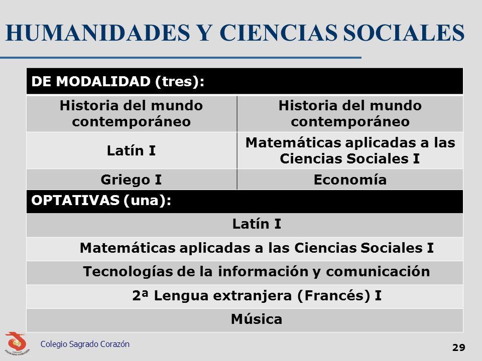 HUMANIDADES Y CIENCIAS SOCIALES DE MODALIDAD (tres): Historia del mundo contemporáneo Latín I Matemáticas aplicadas a las Ciencias Sociales I Griego I