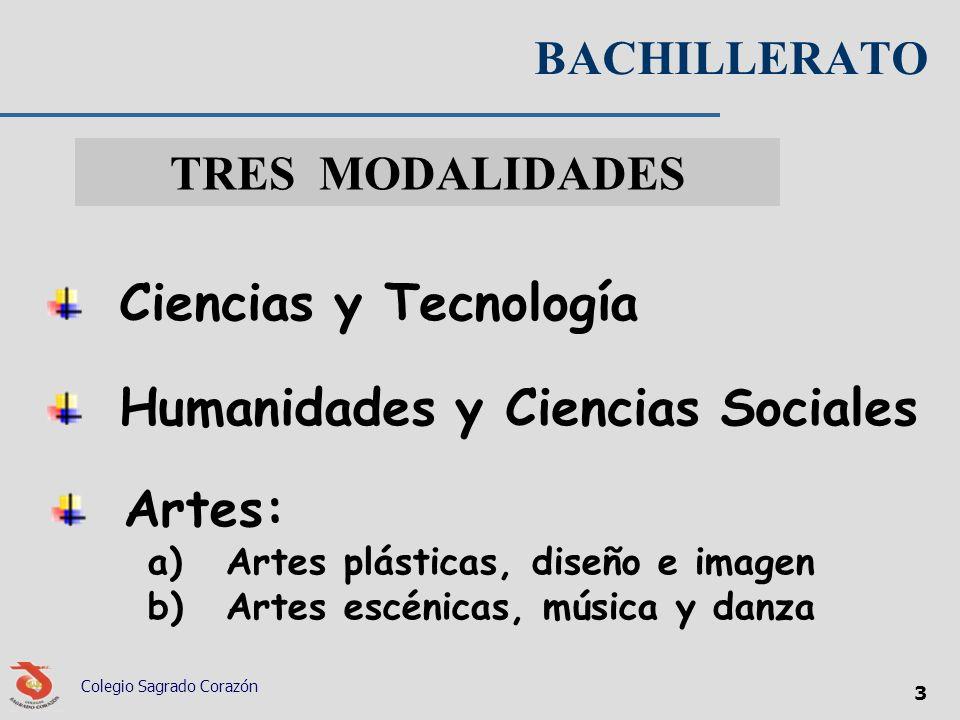 BACHILLERATO Colegio Sagrado Corazón 3 TRES MODALIDADES Ciencias y Tecnología Humanidades y Ciencias Sociales Artes: a)Artes plásticas, diseño e image