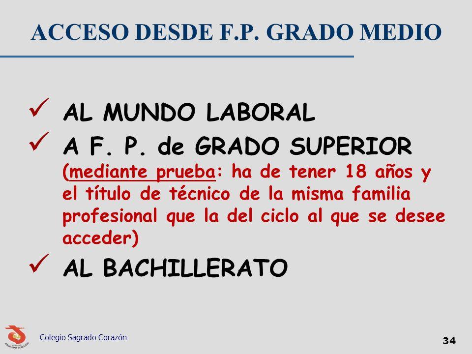 ACCESO DESDE F.P. GRADO MEDIO AL MUNDO LABORAL A F. P. de GRADO SUPERIOR (mediante prueba: ha de tener 18 años y el título de técnico de la misma fami