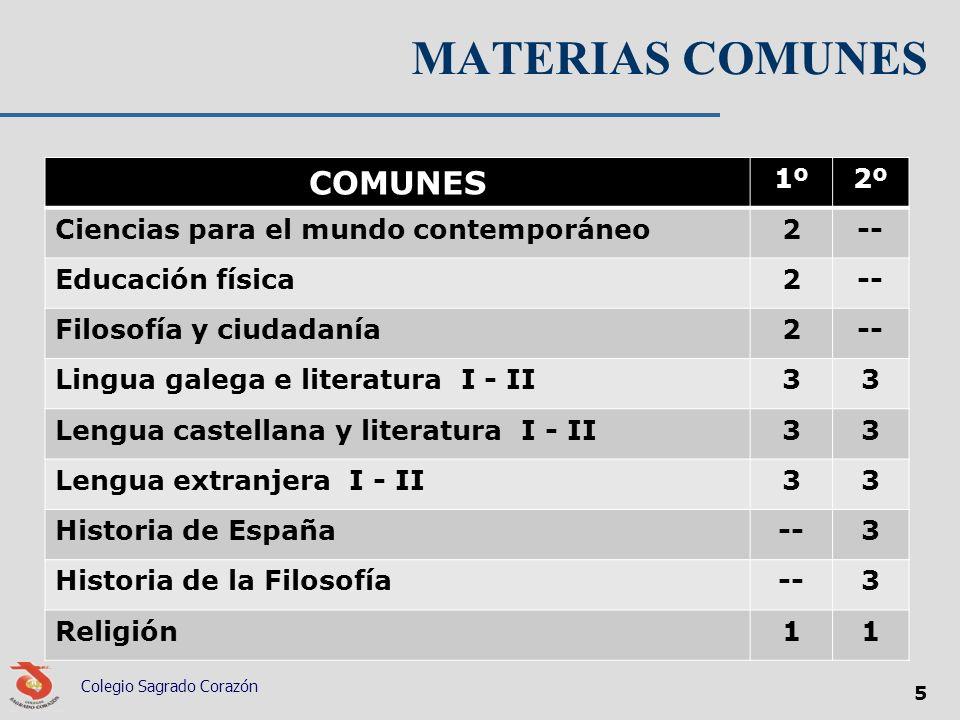 MATERIAS COMUNES COMUNES 1º2º Ciencias para el mundo contemporáneo2-- Educación física2-- Filosofía y ciudadanía2-- Lingua galega e literatura I - II3