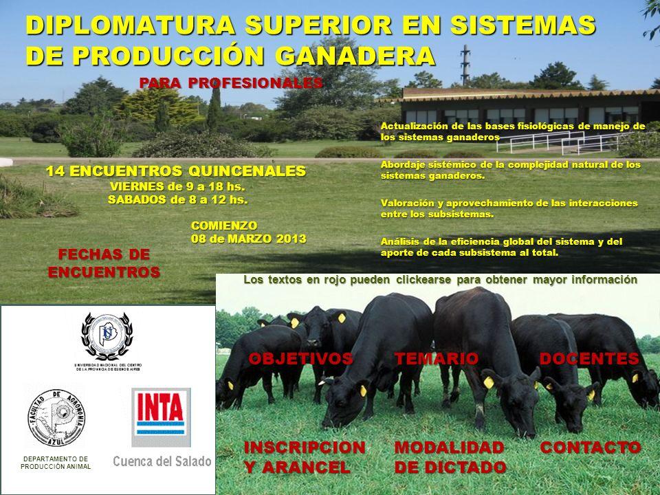 DIPLOMATURA SUPERIOR EN SISTEMAS DE PRODUCCIÓN GANADERA DEPARTAMENTO DE PRODUCCIÓN ANIMAL COMIENZO 08 de MARZO 2013 14 ENCUENTROS QUINCENALES VIERNES de 9 a 18 hs.