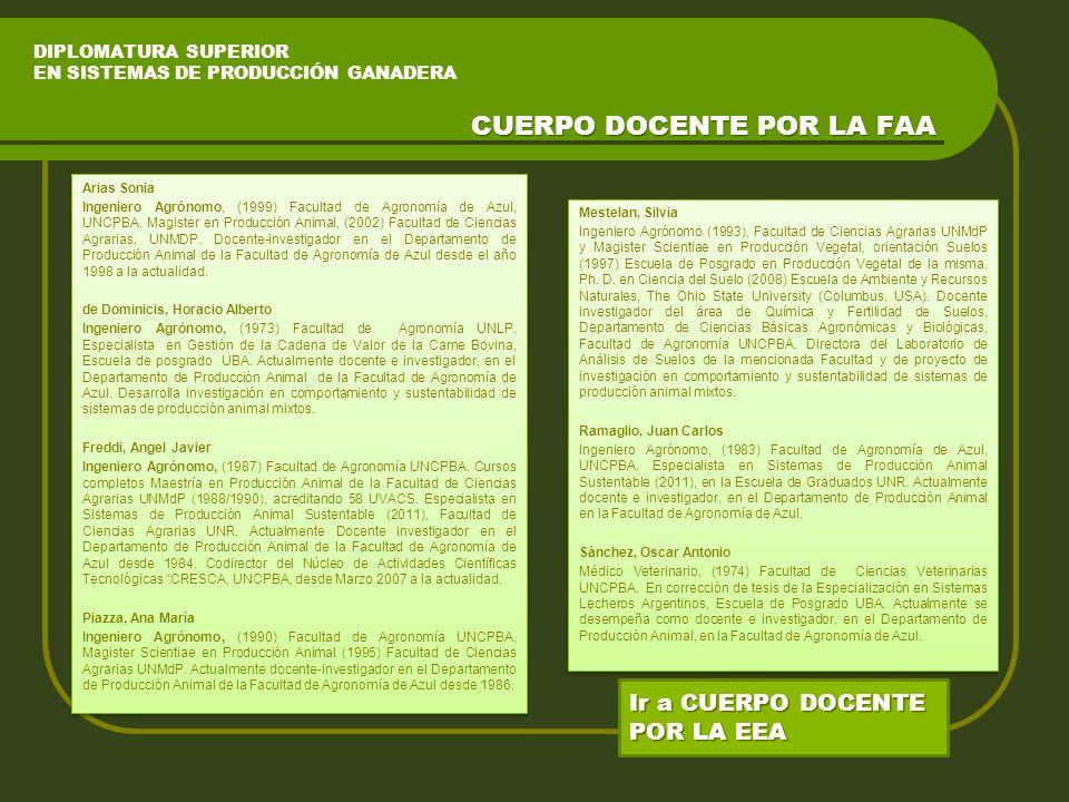 DIPLOMATURA SUPERIOR EN SISTEMAS DE PRODUCCIÓN GANADERA Arias Sonia Ingeniero Agrónomo, (1999) Facultad de Agronomía de Azul, UNCPBA.
