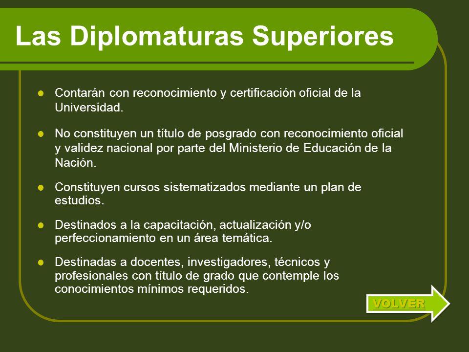 Las Diplomaturas Superiores Contarán con reconocimiento y certificación oficial de la Universidad. No constituyen un título de posgrado con reconocimi