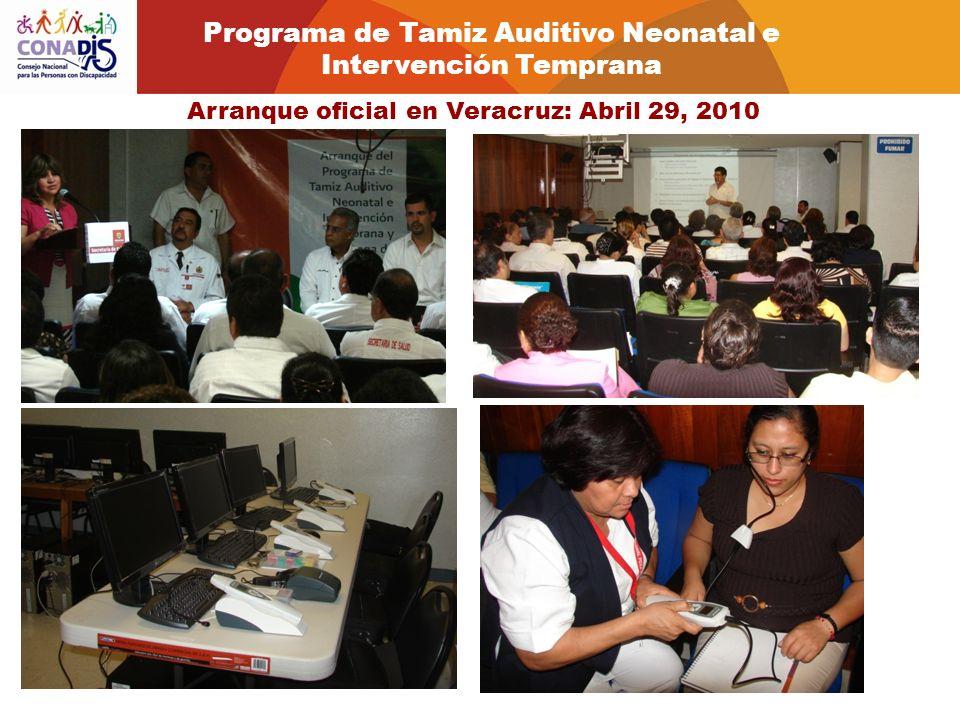 Arranque oficial en Veracruz: Abril 29, 2010 2010 22, 2011 Programa de Tamiz Auditivo Neonatal e Intervención Temprana