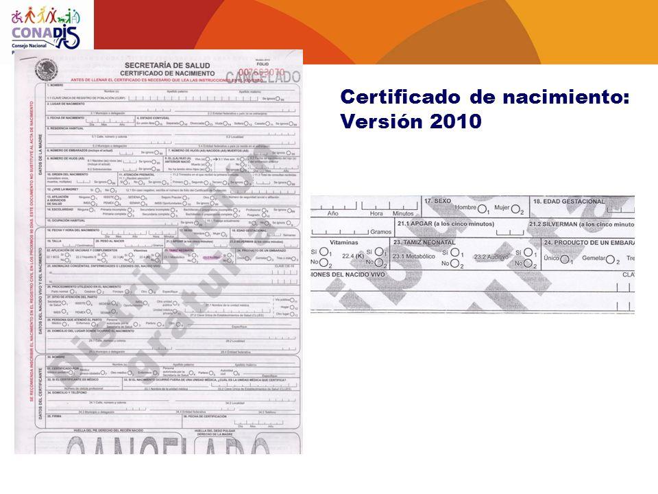 Certificado de nacimiento: Versión 2010