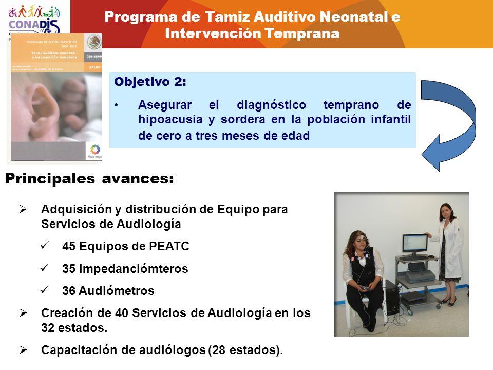 Objetivo 2: Asegurar el diagnóstico temprano de hipoacusia y sordera en la población infantil de cero a tres meses de edad Principales avances: Adquis