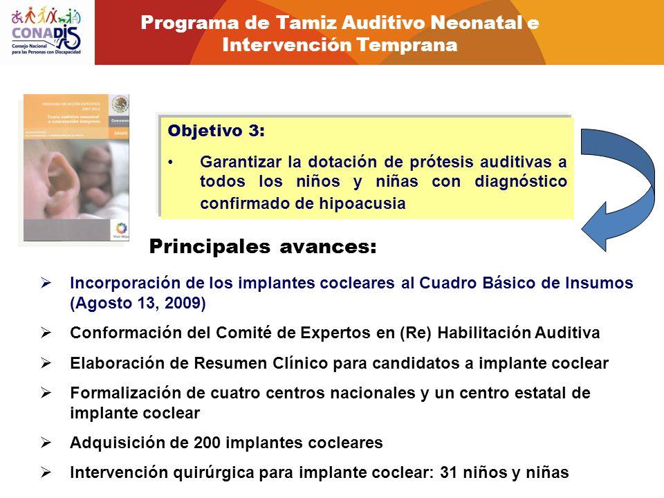 Objetivo 3: Garantizar la dotación de prótesis auditivas a todos los niños y niñas con diagnóstico confirmado de hipoacusia Principales avances: Incor