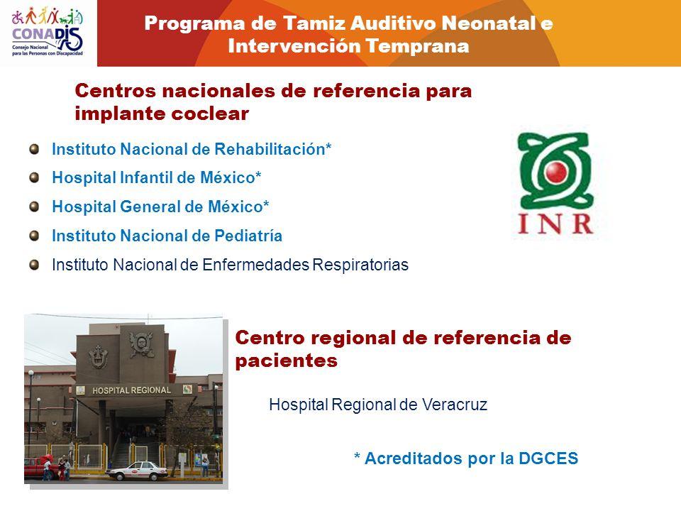 Centros nacionales de referencia para implante coclear Instituto Nacional de Rehabilitación* Hospital Infantil de México* Hospital General de México*