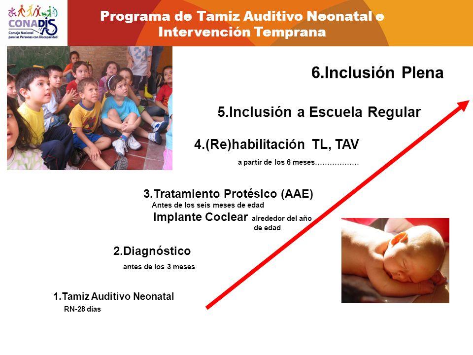 1.Tamiz Auditivo Neonatal RN-28 dias 2.Diagnóstico antes de los 3 meses 3.Tratamiento Protésico (AAE) Antes de los seis meses de edad Implante Coclear