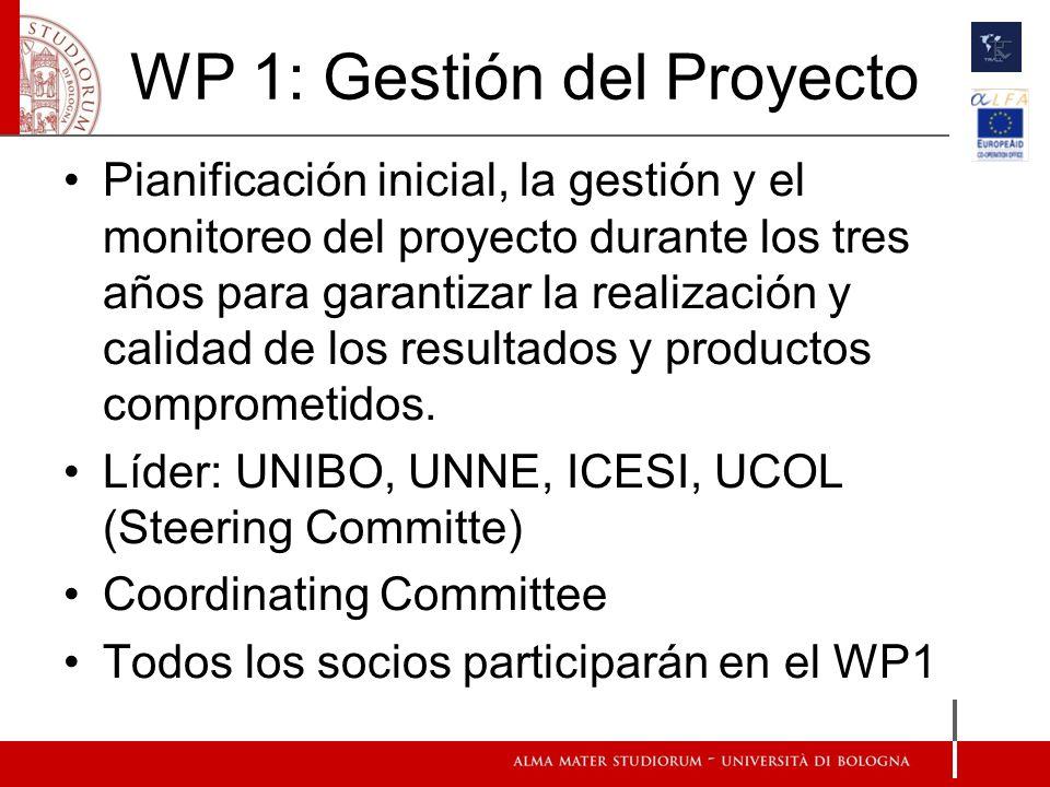 WP 1: Gestión del Proyecto Pianificación inicial, la gestión y el monitoreo del proyecto durante los tres años para garantizar la realización y calidad de los resultados y productos comprometidos.