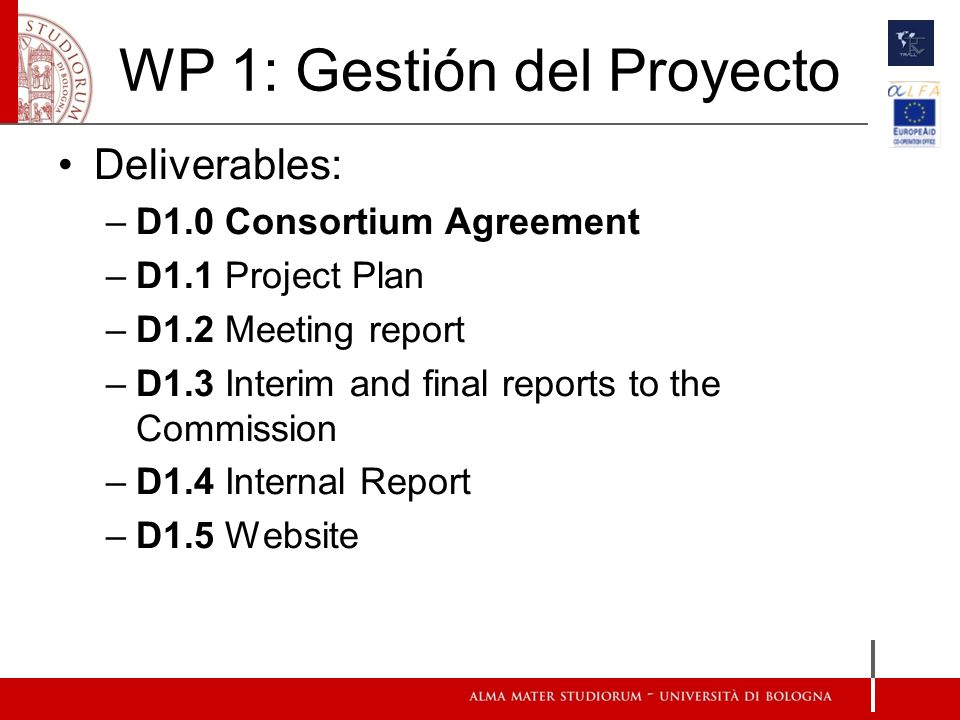 WP 1: Gestión del Proyecto Deliverables: –D1.0 Consortium Agreement –D1.1 Project Plan –D1.2 Meeting report –D1.3 Interim and final reports to the Commission –D1.4 Internal Report –D1.5 Website