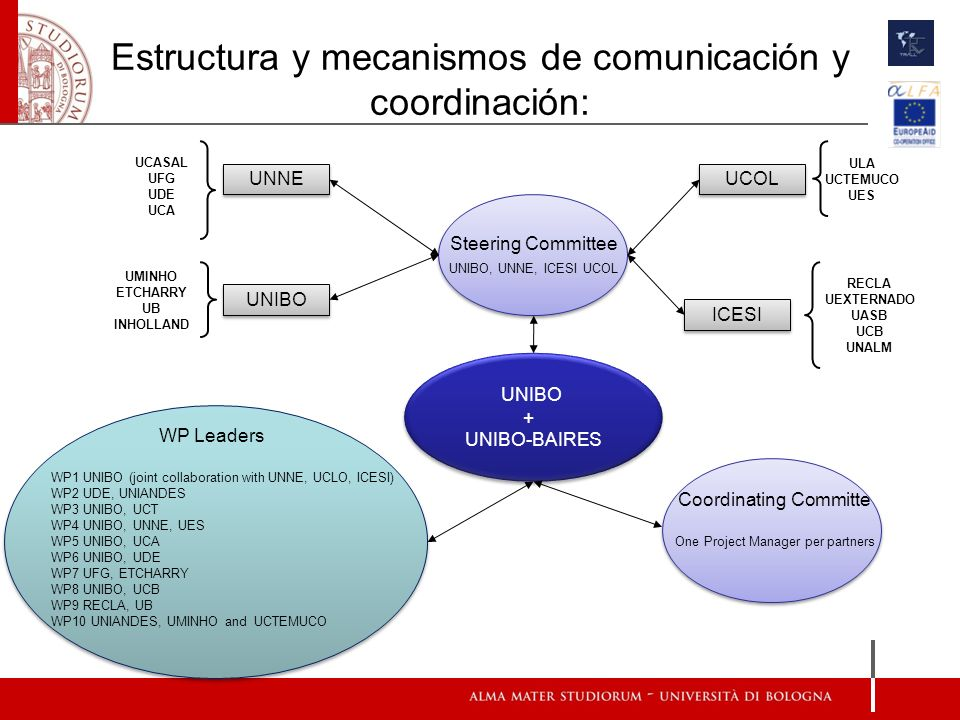 Estructura y mecanismos de comunicación y coordinación: UNIBO + UNIBO-BAIRES UNIBO + UNIBO-BAIRES WP Leaders WP1 UNIBO (joint collaboration with UNNE, UCLO, ICESI) WP2 UDE, UNIANDES WP3 UNIBO, UCT WP4 UNIBO, UNNE, UES WP5 UNIBO, UCA WP6 UNIBO, UDE WP7 UFG, ETCHARRY WP8 UNIBO, UCB WP9 RECLA, UB WP10 UNIANDES, UMINHO and UCTEMUCO Coordinating Committe One Project Manager per partners Steering Committee UNIBO, UNNE, ICESI UCOL Steering Committee UNIBO, UNNE, ICESI UCOL UNIBO UMINHO ETCHARRY UB INHOLLAND UNNE UCASAL UFG UDE UCA ICESI RECLA UEXTERNADO UASB UCB UNALM UCOL ULA UCTEMUCO UES