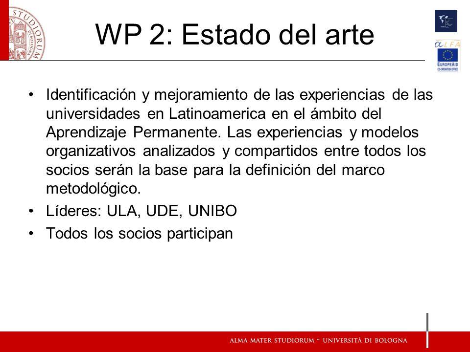 WP 2: Estado del arte Identificación y mejoramiento de las experiencias de las universidades en Latinoamerica en el ámbito del Aprendizaje Permanente.