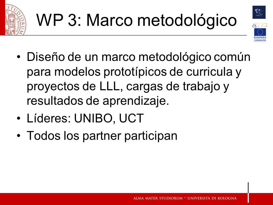WP 3: Marco metodológico Diseño de un marco metodológico común para modelos prototípicos de curricula y proyectos de LLL, cargas de trabajo y resultados de aprendizaje.