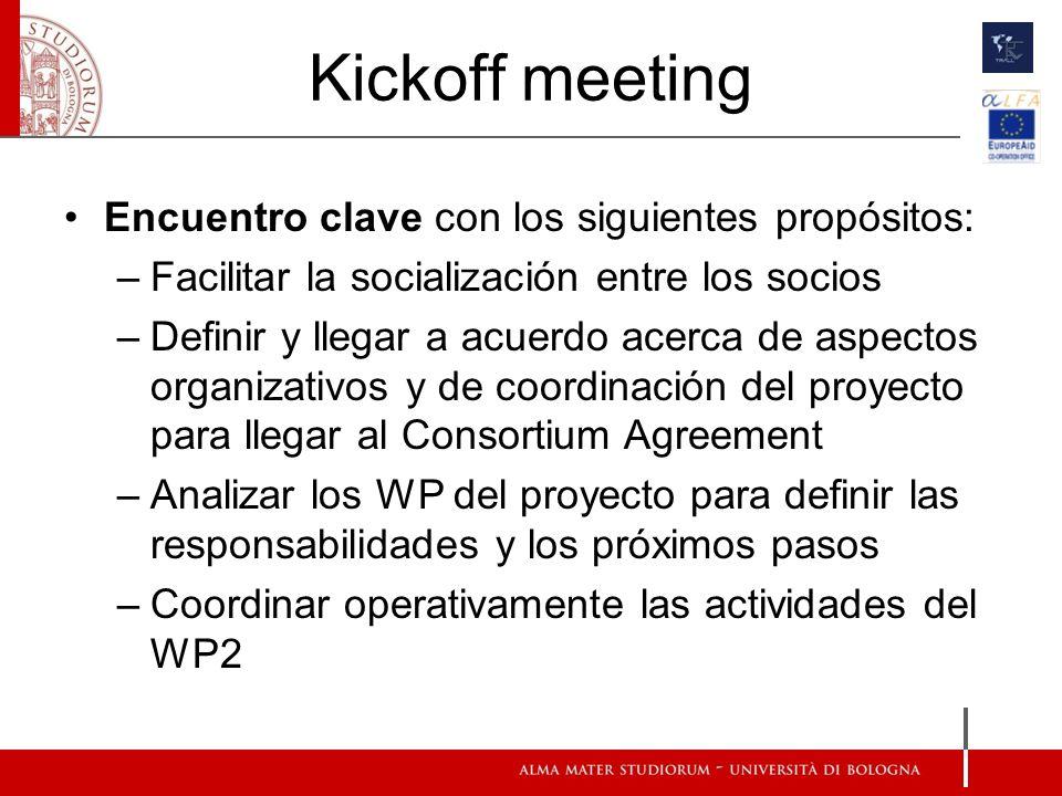 Kickoff meeting Encuentro clave con los siguientes propósitos: –Facilitar la socialización entre los socios –Definir y llegar a acuerdo acerca de aspectos organizativos y de coordinación del proyecto para llegar al Consortium Agreement –Analizar los WP del proyecto para definir las responsabilidades y los próximos pasos –Coordinar operativamente las actividades del WP2