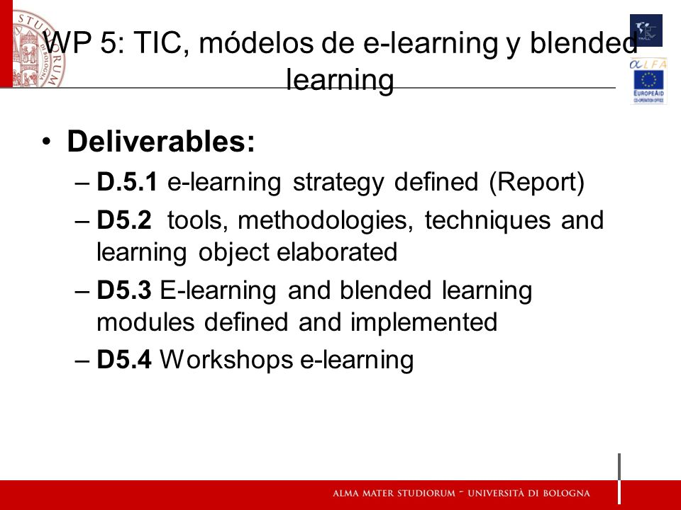 WP 5: TIC, módelos de e-learning y blended learning Deliverables: –D.5.1 e-learning strategy defined (Report) –D5.2 tools, methodologies, techniques and learning object elaborated –D5.3 E-learning and blended learning modules defined and implemented –D5.4 Workshops e-learning