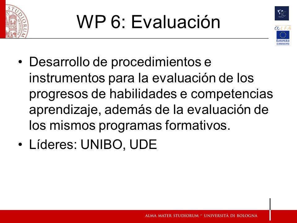 WP 6: Evaluación Desarrollo de procedimientos e instrumentos para la evaluación de los progresos de habilidades e competencias aprendizaje, además de la evaluación de los mismos programas formativos.