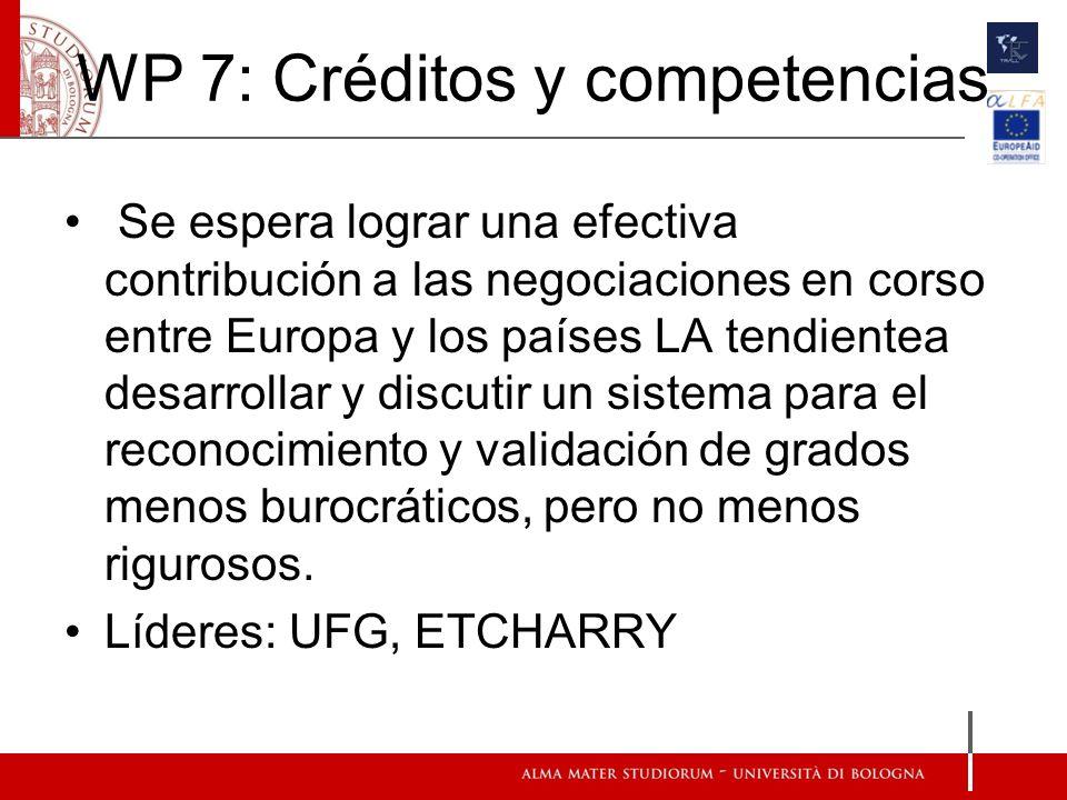 WP 7: Créditos y competencias Se espera lograr una efectiva contribución a las negociaciones en corso entre Europa y los países LA tendientea desarrol