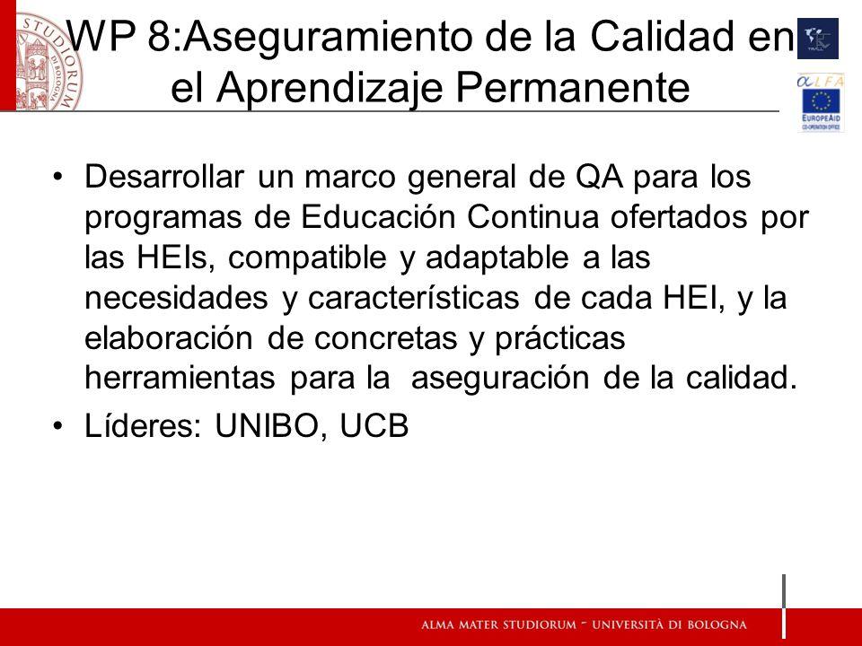 WP 8:Aseguramiento de la Calidad en el Aprendizaje Permanente Desarrollar un marco general de QA para los programas de Educación Continua ofertados por las HEIs, compatible y adaptable a las necesidades y características de cada HEI, y la elaboración de concretas y prácticas herramientas para la aseguración de la calidad.