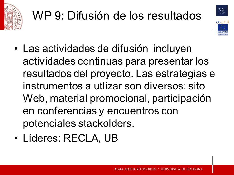 WP 9: Difusión de los resultados Las actividades de difusión incluyen actividades continuas para presentar los resultados del proyecto. Las estrategia