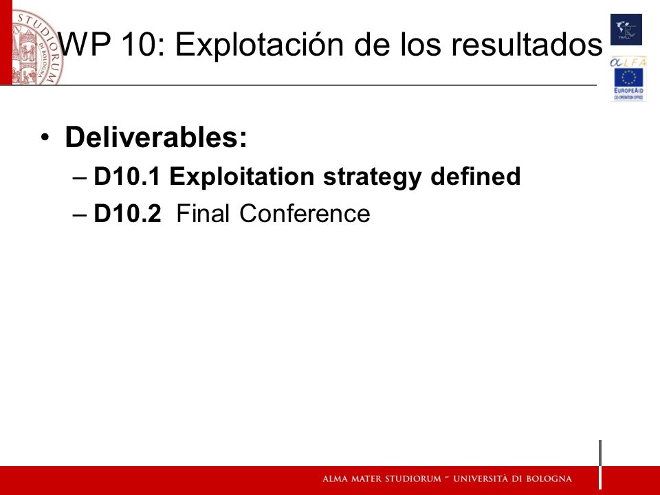 WP 10: Explotación de los resultados Deliverables: –D10.1 Exploitation strategy defined –D10.2 Final Conference
