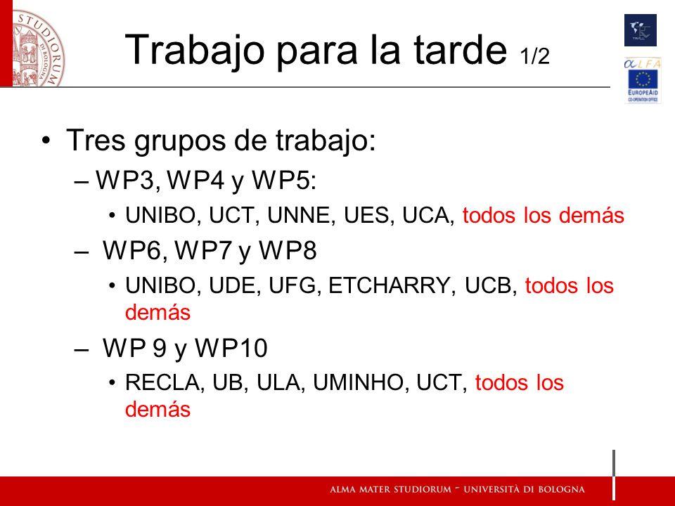 Trabajo para la tarde 1/2 Tres grupos de trabajo: –WP3, WP4 y WP5: UNIBO, UCT, UNNE, UES, UCA, todos los demás – WP6, WP7 y WP8 UNIBO, UDE, UFG, ETCHARRY, UCB, todos los demás – WP 9 y WP10 RECLA, UB, ULA, UMINHO, UCT, todos los demás