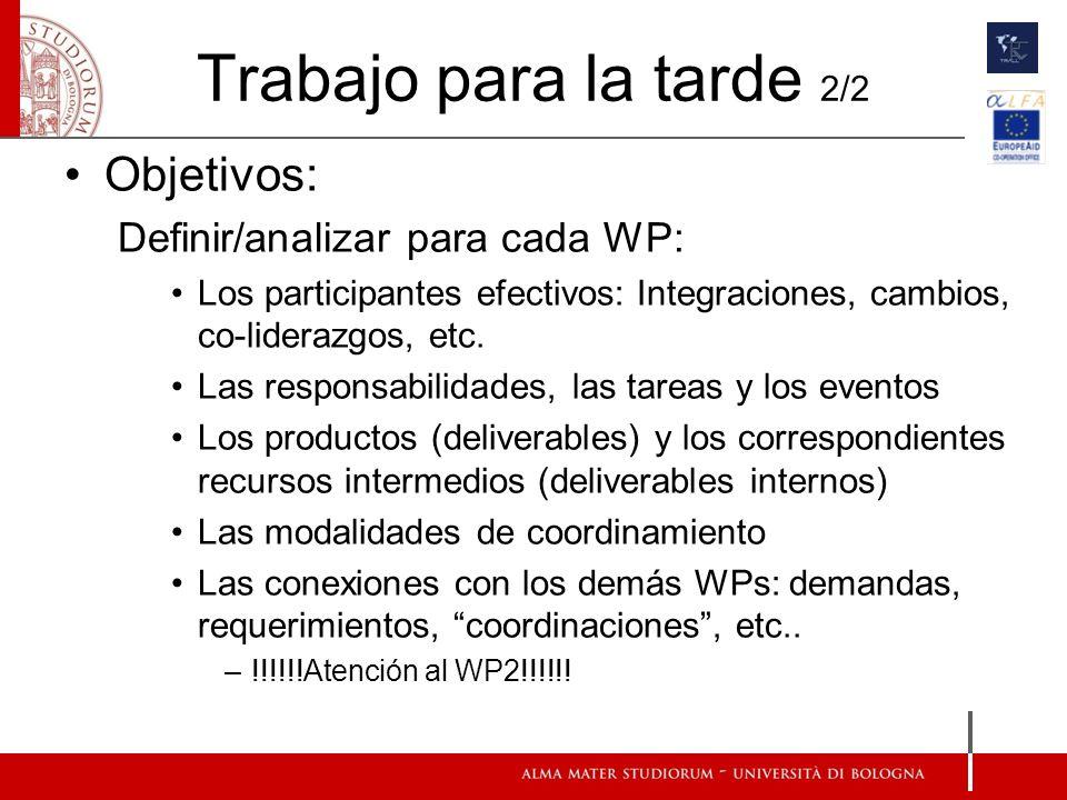 Trabajo para la tarde 2/2 Objetivos: Definir/analizar para cada WP: Los participantes efectivos: Integraciones, cambios, co-liderazgos, etc. Las respo