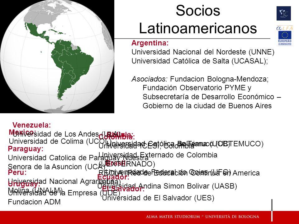 Socios Latinoamericanos Argentina: Universidad Nacional del Nordeste (UNNE) Universidad Católica de Salta (UCASAL); Asociados: Fundacion Bologna-Mendo