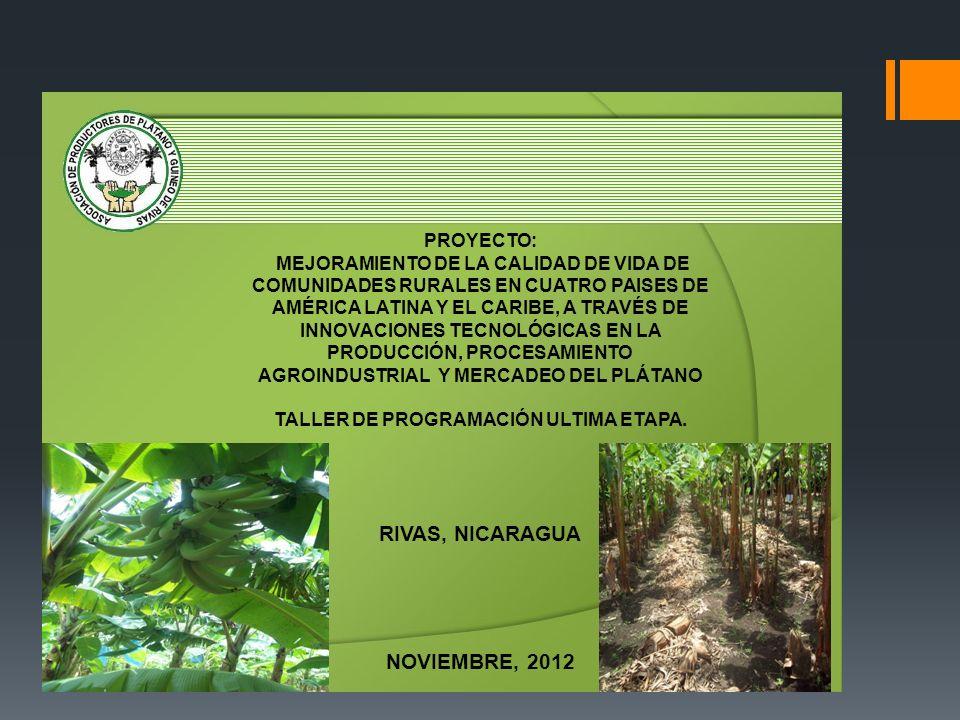 PROYECTO: MEJORAMIENTO DE LA CALIDAD DE VIDA DE COMUNIDADES RURALES EN CUATRO PAISES DE AMÉRICA LATINA Y EL CARIBE, A TRAVÉS DE INNOVACIONES TECNOLÓGI