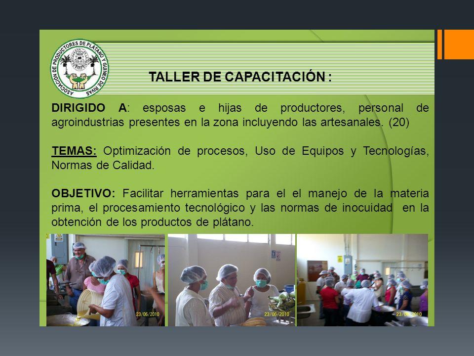 TALLER DE CAPACITACIÓN : DIRIGIDO A: esposas e hijas de productores, personal de agroindustrias presentes en la zona incluyendo las artesanales. (20)
