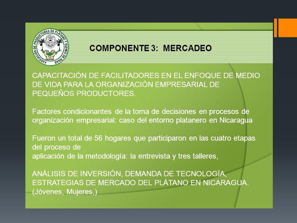 COMPONENTE 3: MERCADEO CAPACITACIÓN DE FACILITADORES EN EL ENFOQUE DE MEDIO DE VIDA PARA LA ORGANIZACIÓN EMPRESARIAL DE PEQUEÑOS PRODUCTORES. Factores
