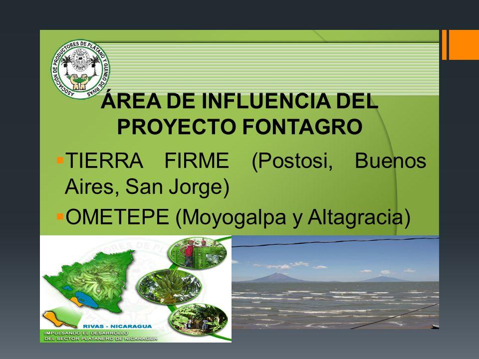 ÁREA DE INFLUENCIA DEL PROYECTO FONTAGRO TIERRA FIRME (Postosi, Buenos Aires, San Jorge) OMETEPE (Moyogalpa y Altagracia)