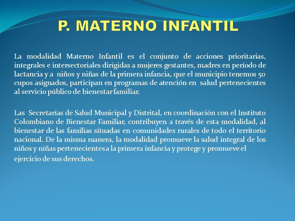 La modalidad Materno Infantil es el conjunto de acciones prioritarias, integrales e intersectoriales dirigidas a mujeres gestantes, madres en período