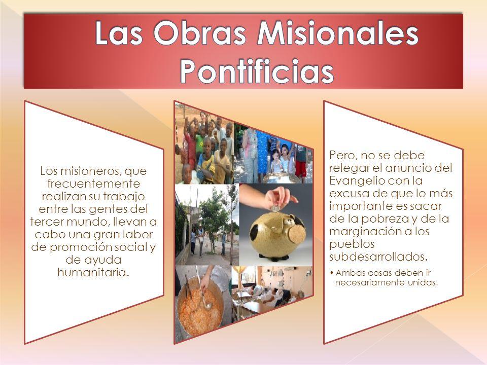 Los misioneros, que frecuentemente realizan su trabajo entre las gentes del tercer mundo, llevan a cabo una gran labor de promoción social y de ayuda humanitaria.