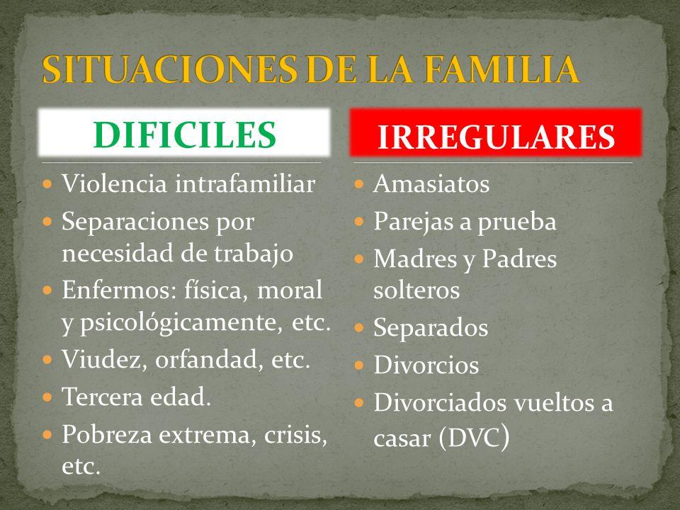 DIFICILES Violencia intrafamiliar Separaciones por necesidad de trabajo Enfermos: física, moral y psicológicamente, etc. Viudez, orfandad, etc. Tercer