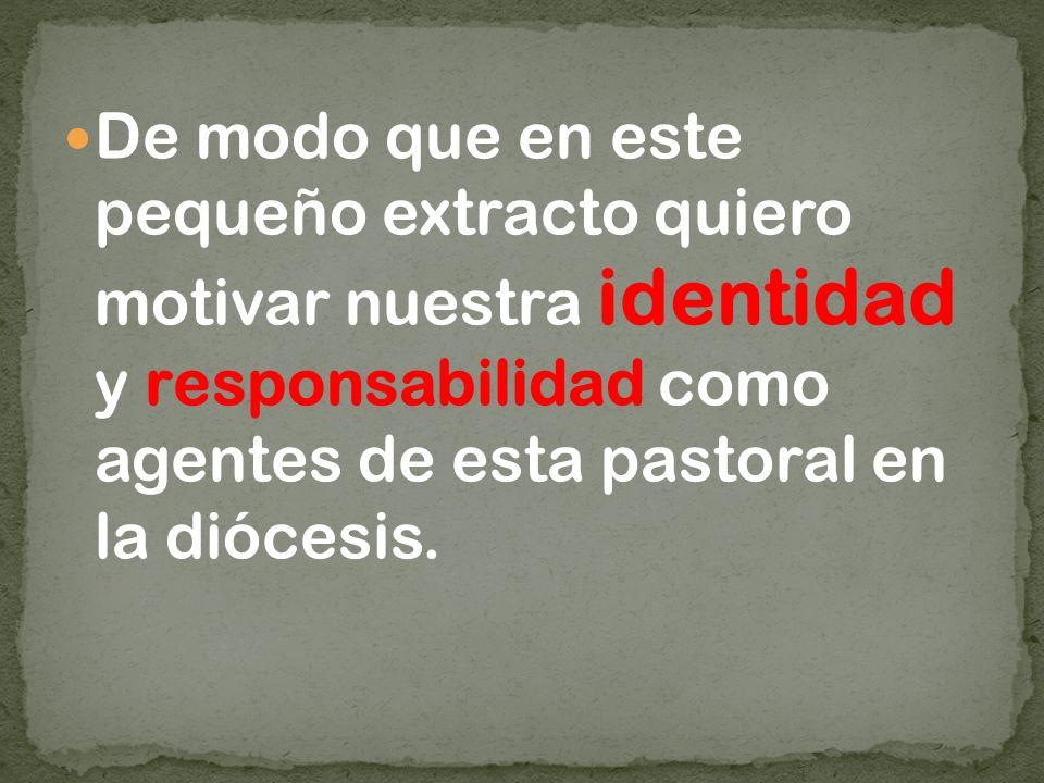 De modo que en este pequeño extracto quiero motivar nuestra identidad y responsabilidad como agentes de esta pastoral en la diócesis.