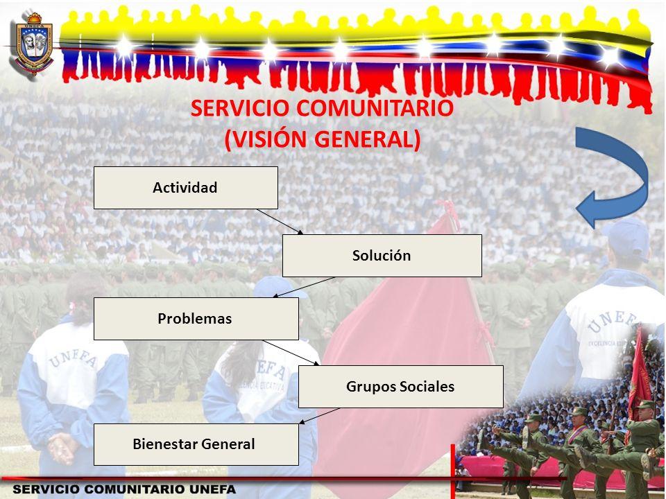Actividad Solución Problemas Grupos Sociales Bienestar General SERVICIO COMUNITARIO (VISIÓN GENERAL)