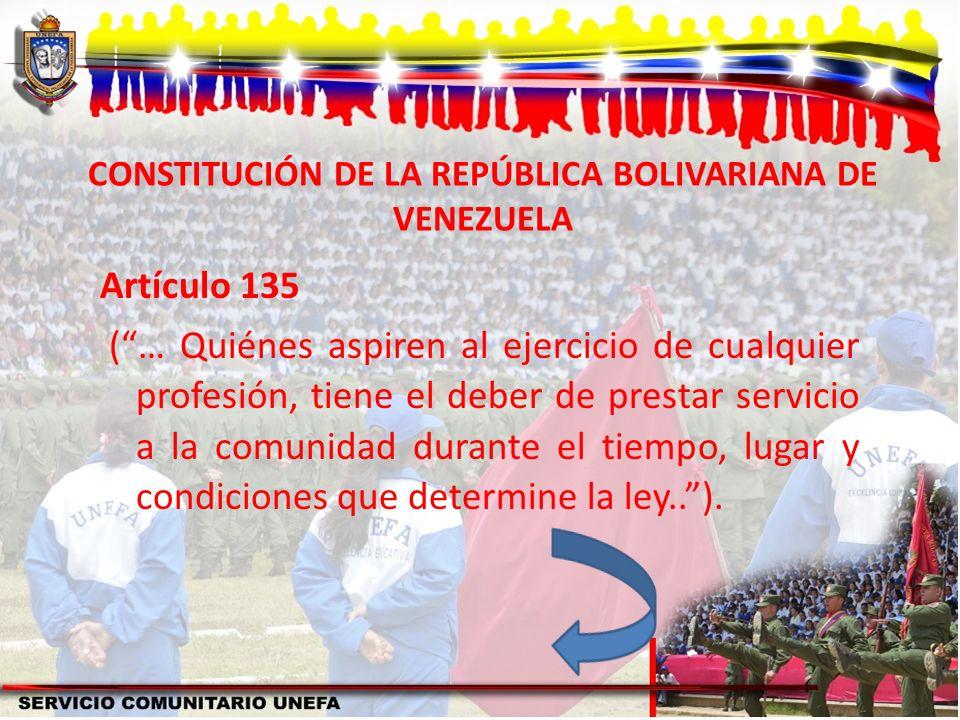 CONSTITUCIÓN DE LA REPÚBLICA BOLIVARIANA DE VENEZUELA Artículo 135 (… Quiénes aspiren al ejercicio de cualquier profesión, tiene el deber de prestar s
