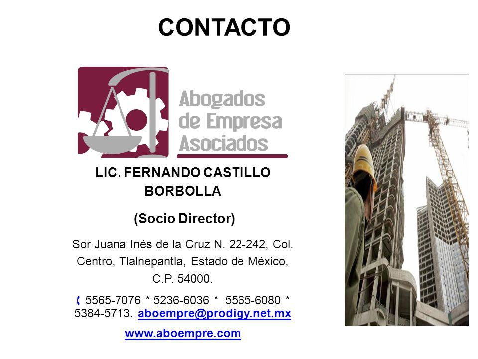LIC. FERNANDO CASTILLO BORBOLLA (Socio Director) (Socio Director) Sor Juana Inés de la Cruz N. 22-242, Col. Centro, Tlalnepantla, Estado de México, C.