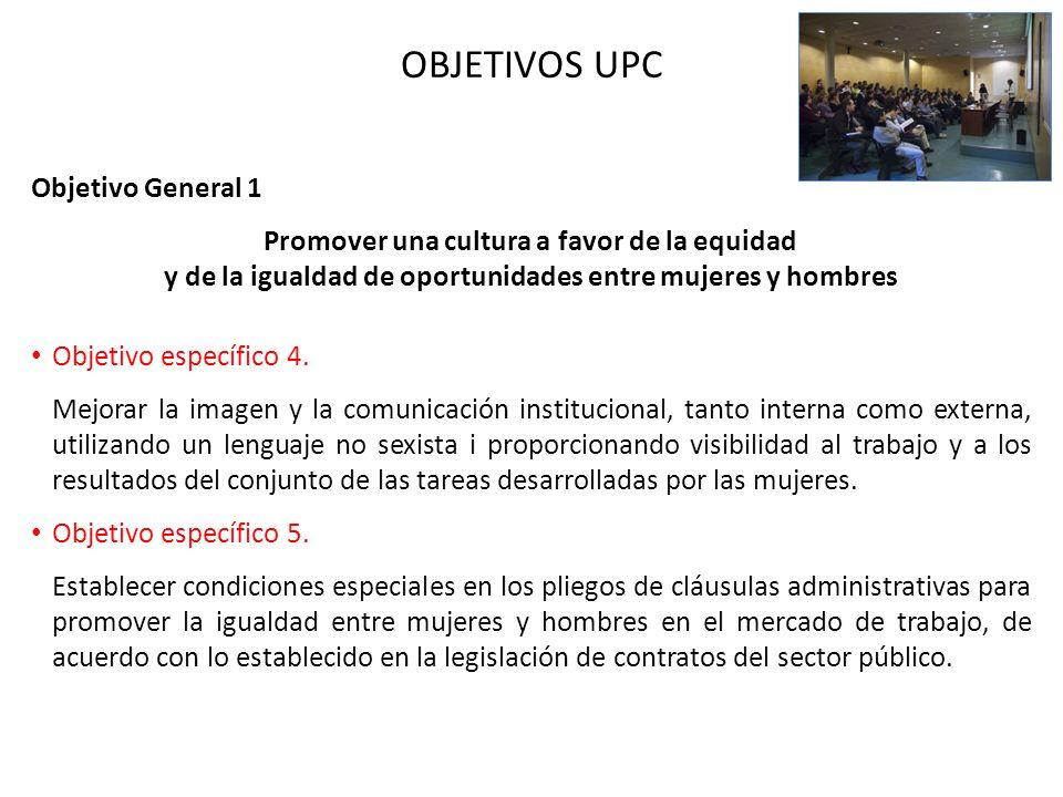 OBJETIVOS UPC Objetivo General 1 Promover una cultura a favor de la equidad y de la igualdad de oportunidades entre mujeres y hombres Objetivo específ
