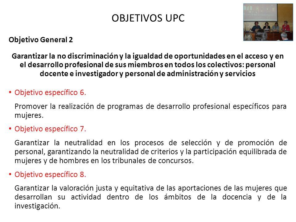 OBJETIVOS UPC Objetivo General 2 Garantizar la no discriminación y la igualdad de oportunidades en el acceso y en el desarrollo profesional de sus mie