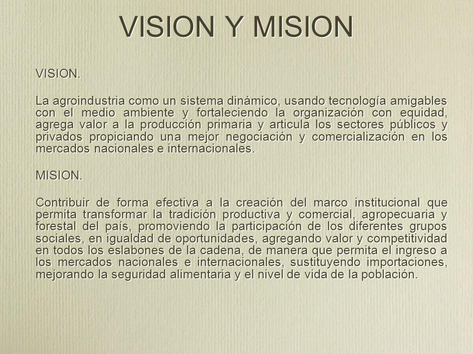 VISION Y MISION VISION. La agroindustria como un sistema dinámico, usando tecnología amigables con el medio ambiente y fortaleciendo la organización c