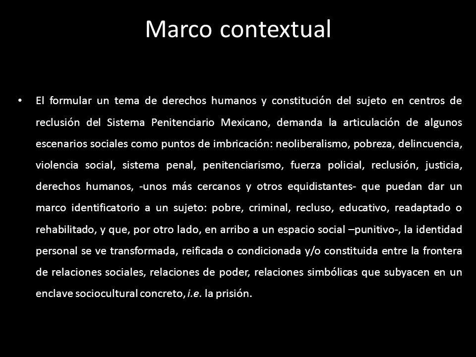 Marco contextual El formular un tema de derechos humanos y constitución del sujeto en centros de reclusión del Sistema Penitenciario Mexicano, demanda