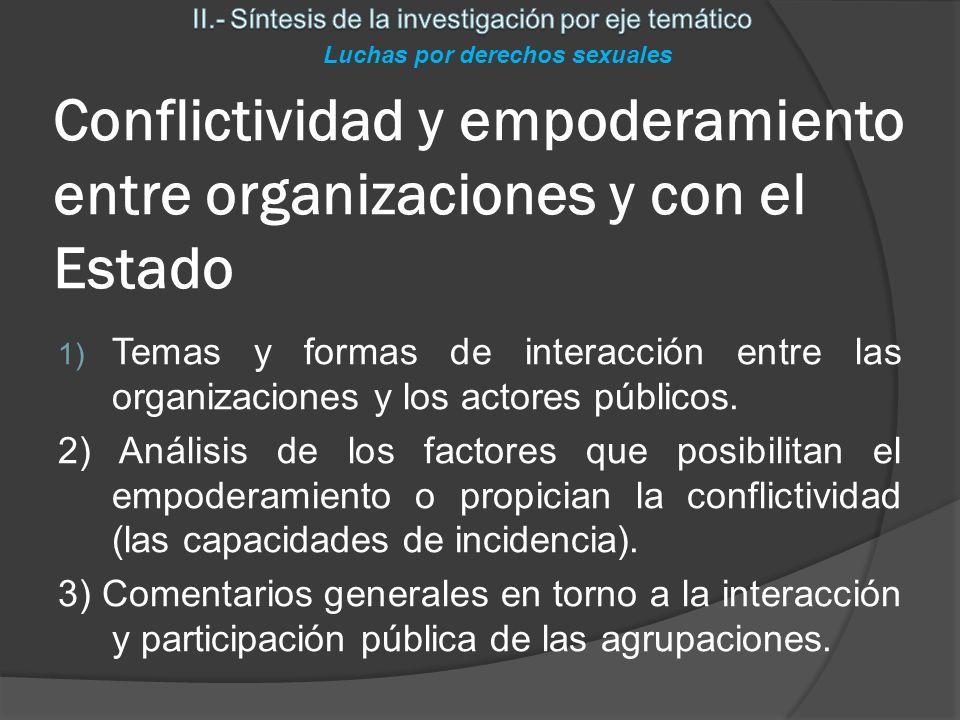 Conflictividad y empoderamiento entre organizaciones y con el Estado Luchas por derechos sexuales 1) Temas y formas de interacción entre las organizaciones y los actores públicos.