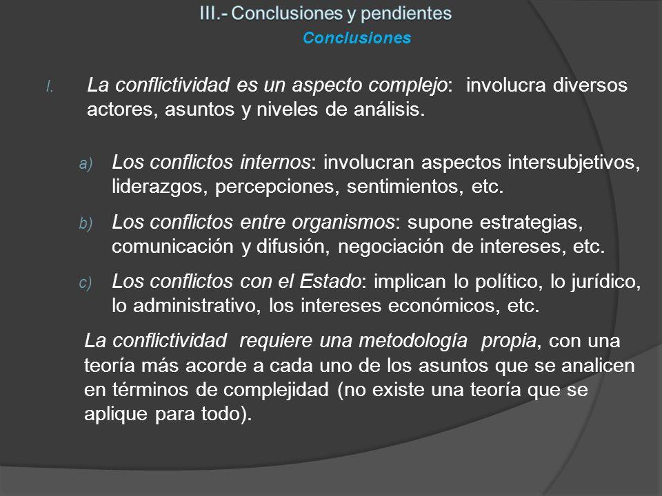 I. La conflictividad es un aspecto complejo: involucra diversos actores, asuntos y niveles de análisis. a) Los conflictos internos: involucran aspecto